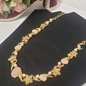 Beautiful Trifari Pink Stone & Flower Necklace